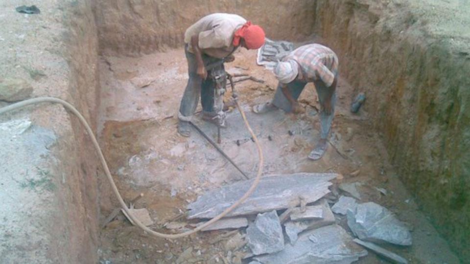 Stones Broken Using Compressors